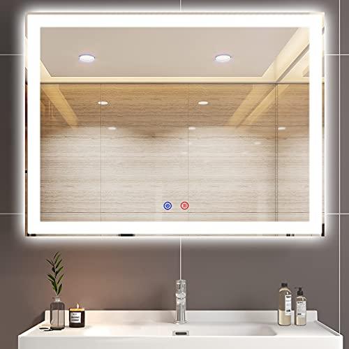 60x80cm Espejo de Baño con Luz Rectangular Espejo de Tocador Iluminado de Pared con 3 Luces de Color Ajustable, Función Antivaho Espejo de Maquillaje LED Interruptor Táctil (Horizontal / Vertical)