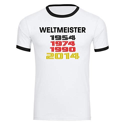Multifanshop T-Shirt Deutschland mit Aufschrift Weltmeister und Jahreszahlen Retro 1954 1974 1990 2014 Trikot Herren weiß Gr. S-2XL - Fanshirt Fußball EM WM,Größe:XL