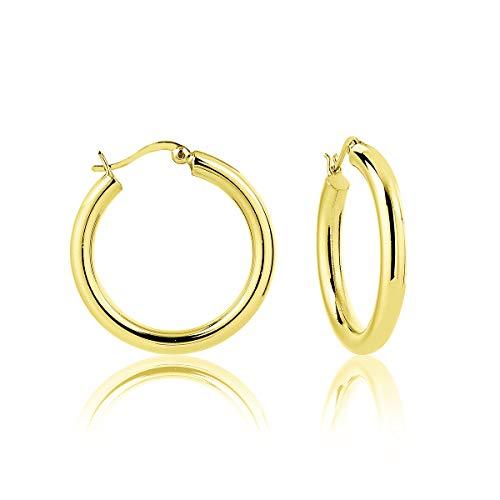 DTPsilver - Damen - Creolen - Ohrringe 925 Sterling Silber Gelb Vergoldet - Dicke 4 mm - Durchmesser 30 mm