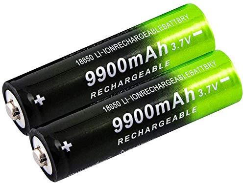 2/4/8 Piezas 18650 Bateria 3.7v / 9900mah batería baterías Recargables 1800 ciclos para Icr18650 baterías de Litio Li-Ion Bateria para Power Bank Faros linternas de Repuesto-2 Piezas
