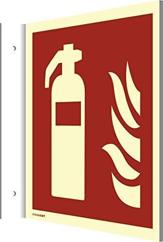 Fahnenschild Feuerlöscher HIGHLIGHT gemäß ASR/DIN, PVC 148 x 148 mm, Leuchtdichte: 160 mcd/m² (Brandschutzschild) wetterfest
