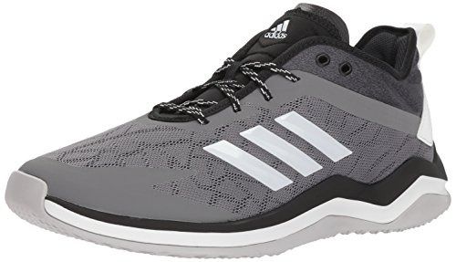 adidas Men's Speed Trainer 4 Baseball Shoe, Grey/Crystal White/Black, 12.5 M US