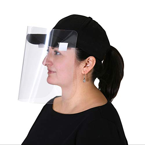 Safety Face Shield, Clips Onto Hats And Caps, 5 Pack, Adjustable Full Face Mask, Clear Protective Plastic