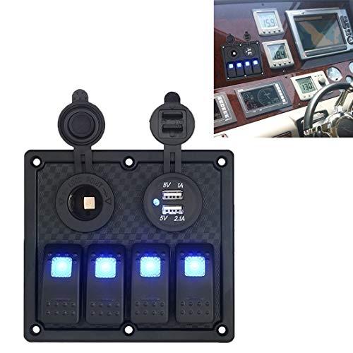 Panel de interruptores de 12v Multifunción cigarrillo Llave de luces del panel Lighter + Lights doble del zócalo de 4 vías interruptores, for Car RV marina del barco