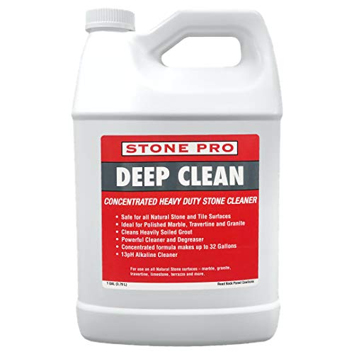 StonePro Deep Clean Non-Acidic Alkaline Cleaner Concentrate for Cleaning Polished, Honed, Flamed or Tumbled Marble, Travertine, Grout, Granite, Limestone & All Ceramic, Porcelain Surfaces(1 Gallon)