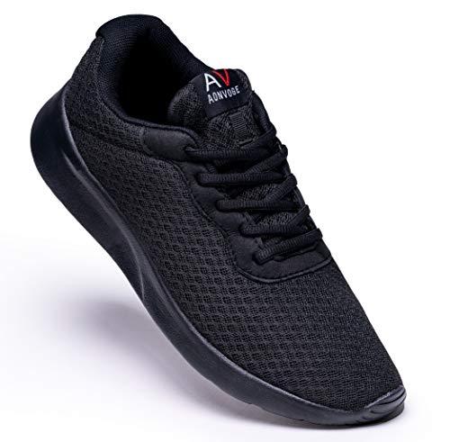 AONVOGE Zapatillas de correr para hombre, para exteriores, para caminar, correr, tenis, gimnasia, fitness, ligeras, zapatillas de deporte, color Negro, talla 44.5 EU