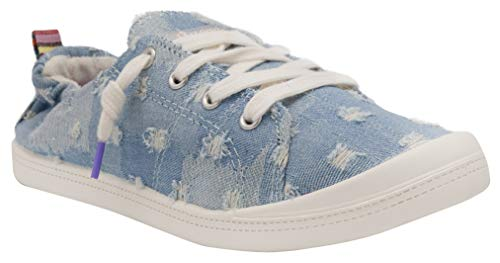 Sneakers for Women, Womens Slip On Sneakers, No Tie Laces, Comfortable Walking Shoes with Elastic Collar, Women's Shoes Casual with Cute Design, Zapados para Mujer, Slip On Shoes 7 Torn Denim