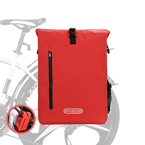 SPITZE FORGE Bike Backpack, 27L Waterproof PVC Bicycle Saddle Bag on Rear Rack Convertible 3 in 1 Roll Top Commuting Bike Pannier Bags Daypack for Outdoor Cycling Hiking Fishing Camping - Red