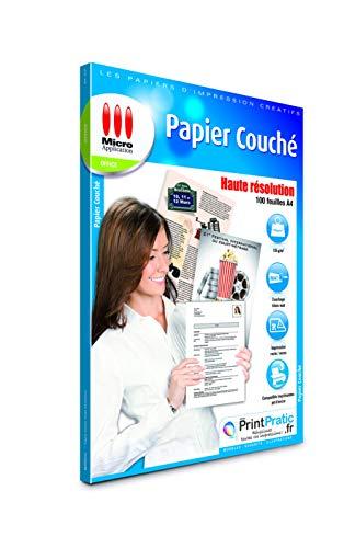 Papier A4 - 100 Feuilles Papier Couché Haute Définition, Blanc, 135 g/m², Imprimable Recto-Verso, Séchage Rapide, Impression jusqu'à 4 800 dpi, Compatible Imprimantes Jet d'Encre - Micro Application