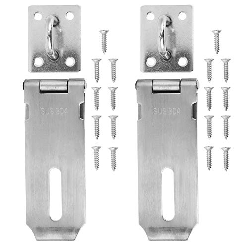 Niunion Door Clasp, 2PCS Padlock Hasp Stainless Steel Security Door Clasp Hasp Lock Latch Gate Bolt Lock for Furniture Drawer