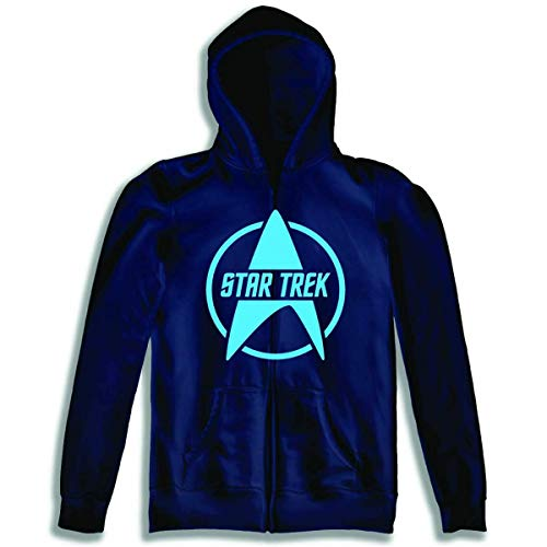 Toy Zany Star Trek Logo Blue Zip Up Sudadera con Capucha Sweatshirt