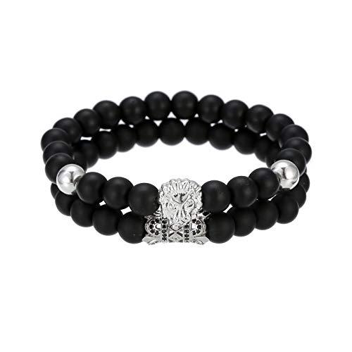 1 pulsera para hombre con cabeza de león Mirco cristal volcánico Rock Accesorios plata