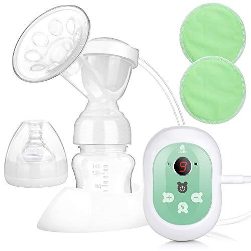 Lictin Elektrische Milchpumpe Wiederaufladbare Brustpumpe Einzel Muttermilch Abpumpen mit Massagemodi LED Anzeige CE Zertifizierung BPA frei und ungiftig mit 2 Stilleinlagen