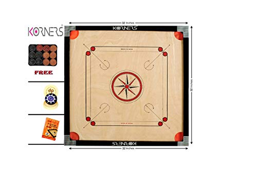 KORNERS Full Size(Large) 32' Inch 4mm Cut Pocket Carrom Board with Coins, Striker & Powder