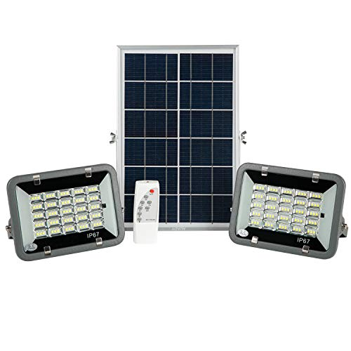 AIJADY Solar Flood Lights Dusk to Dawn Spot Lights IP67 Waterproof 16.4ft Cable Outdoor/Indoor Solar Lights Dual Head with Remote Security Lighting for Barn,Garden,Pool,Garage