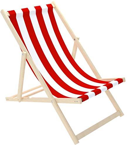 Novamat Gartenliege aus Holz Klappbar Liegestuhl Relaxliege Strandstuhl Klappliegestuhl, Motiv:Streifen - rot. weiß