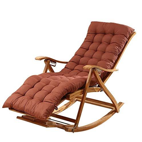 Fauteuil à bascule Bamboo Lounge Chaise 170 ° réglable pliant Pause déjeuner Dossier facile Chaise avec coussin Accueil Balcon Loisirs en bois massif chaise berçante adulte Nap Président