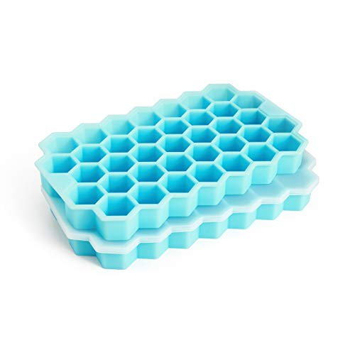 Ice Cube Trays, Arctico 2 Pack Food Grade Flexible Silicone Ice Cube Molds with Lid, BPA Free with...
