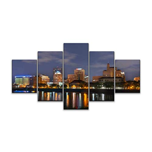 Skipvelo Dayton Ohio Downtown at Night Ohio Stock Pictures Royalty Free Wall Art Canvas Prints Pictures Paintings Artwork Home Decor Stretched and Framed - 5 Pieces