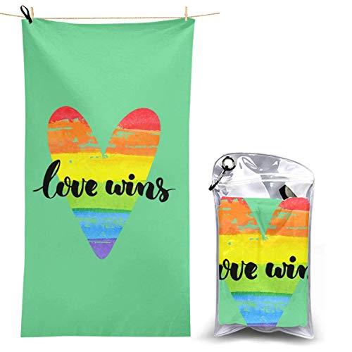 XCNGG Toalla de Playa de Microfibra, Pride Heart Love Wins Manta de Toalla de Secado rápido y rápido Toallas de baño Ligeras, absorbentes Suaves y sin Arena para Playa, baño, natación, Viajes