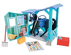 Kids can care for and nurture their horses with the Spirit Classic Horse & Stable and included accessories The stable side wall opens to create a large play area! Stable has a handle to take on the go! Horse has beautiful, rooted hair for brushing an...