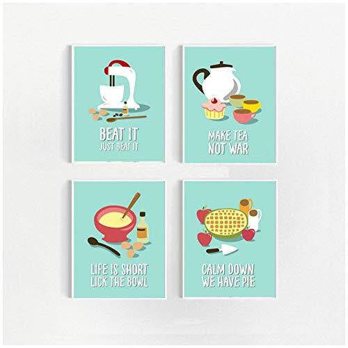 Divertido pastel hornear pastel de té panadero dibujos animados lienzo pintura pared arte cartel e impresiones restaurante cocina decoración imagen modular-16x24 pulgadas x4 sin marco