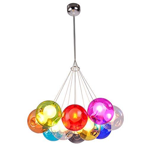 Wjvnbah Candelabro LED de Colores de Burbujas Bola de Cristal de la lámpara Colgante Ajustable Creativo de la línea de Techo Lámpara de araña Escalera Tienda de Ropa Habitación Sala de iluminación