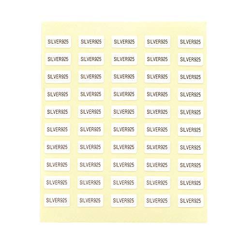 台紙用シール 10×5mm 日本製 アクセサリー台紙用 (SILVER925・白, 250枚)