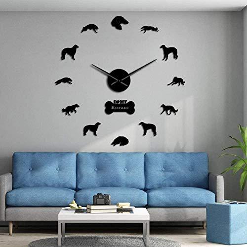 3D DIY wandklok 3D DIY spiegel sticker mute digitale muur klok wolf frameloze grote muur klok cadeau woonkamer slaapkamer kamer decoratie muur decoratie cadeau 37 inch