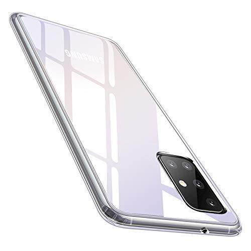 Whew Crystal Clear Samsung Galaxy A71 Hülle (4G), Transparent Vergilbungsfrei Ultra Dünn Handyhülle Hardcase Hard PC Back & Soft Silikon Hülle Durchsichtig Schutzhülle Kratzfest Stoßfestigkeit Cover