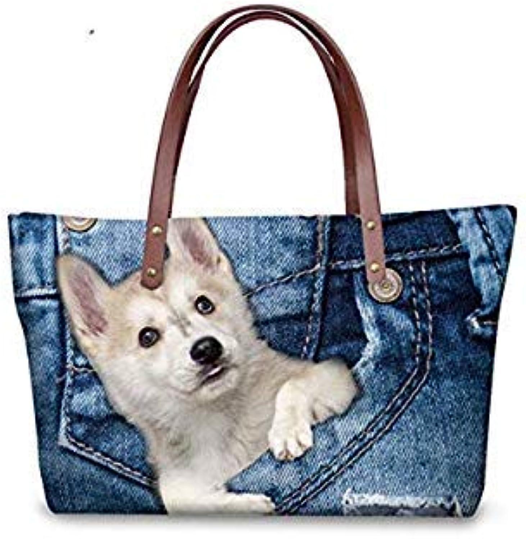 Bloomerang Women Handbag Tote Shoulder Bags Large Cross-Body Bag for Ladies 3D Cute Dog Huskies Printed Woman Messenger Bags color CC1772AL