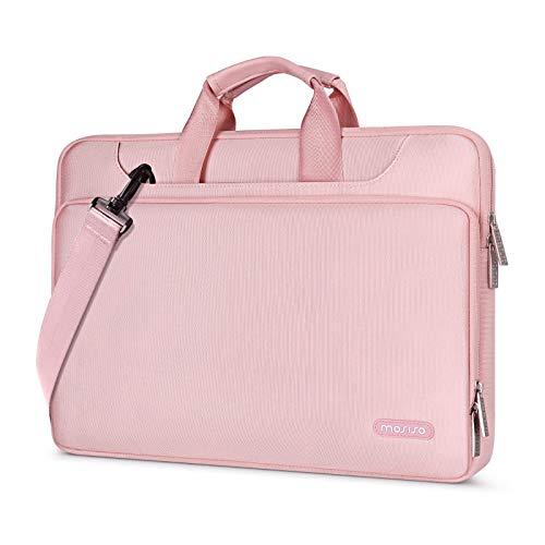 MOSISO Maletín Compatible con 13-13.3 Pulgadas MacBook Pro/MacBook Air /13.5 Surface Laptop/Surface Book, Bolso de Hombro Repelente Agua Funda Protectora 360 con Correa,Rosa