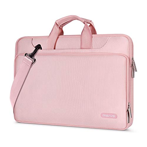 MOSISO Maletín Compatible con 13-13.3 Pulgadas MacBook Pro/MacBook Air /13.5 Surface Laptop/Surface Book, Bolso de Hombro Repelente Agua Funda Protectora 360 con Correa,Rosa