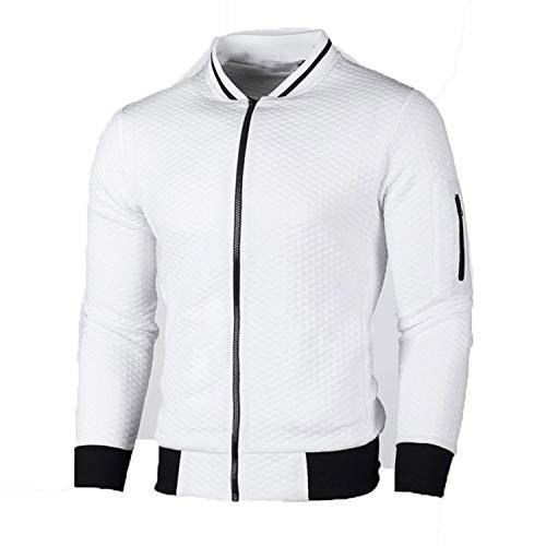 Men Casual Sweatshirt Solid Color Polyester Cardigan Coat Warm Sweatshirt Male Slim Jacket Plus White XL