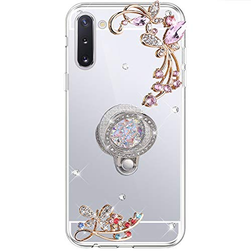 Herbests Cover Case Compatibile con Samsung Galaxy Note 10 Mirror Custodia Silicone Diamante Glitter Bling Cover con Supporto Anello Custodia Flessibile Gomma Morbida Silicone Case,Argento
