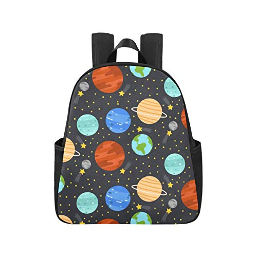 Cartoon Space Shiny Solar System Planet College Backpack 12.40x5.12x14.17inch Bagpack Multipurpose Casual Teen Backpack Business Travel School,Office