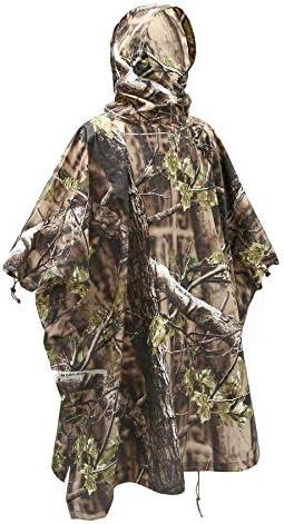 Auscamotek Woodland Camo Rain Poncho Hooded Waterproof Camouflauge Raincoat for Hunting Hiking product image