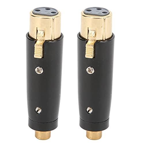 Eujgoov 2 uds hembra RCA a XLR adaptador de 3 pines hembra adaptadores de audio estructura de aleación de zinc Jack convertidor de enchufe para micrófono LZ1169G