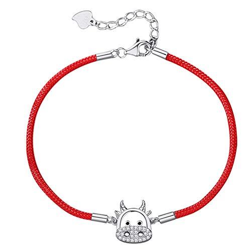 Mode Geschenk, Feng Shui Reichtum Armband für Frauen 2021 S925 Sterling Silber Chinesisch Niedlich Bull Zirkon Armband Rotes Seil Sternzeichen Armisman Talisman für Wohlstand Geld Viel Glüc