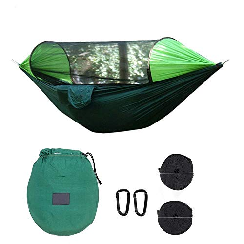 Hammocks Outdoor Camping Hammock Automatic Quick Open Mosquito Net Rain Cover Hanging Swing Bed Max Load 200 kg (Colour: D, Size: 145 x 290 cm) Lalay (Colour: B, Size: 145 x 290 cm)