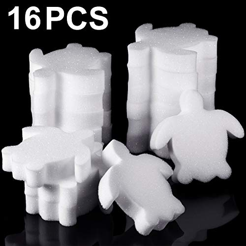 Boao 16 Pieces Creamy Oil Absorbing Scum Sponge for Hot Tub Swimming Pool and Spa (Sea Turtle-Shaped)