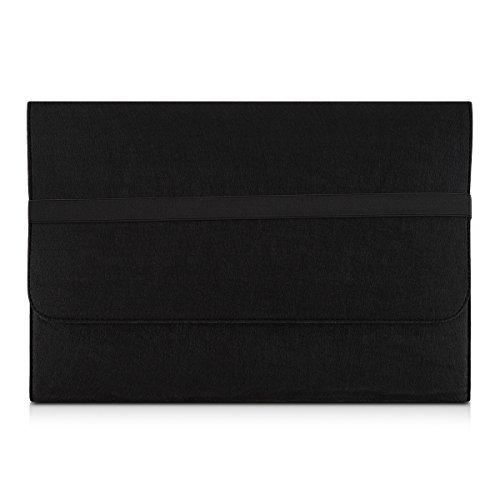 kwmobile Borsa per Laptop Custodia di Feltro per PC Portatile Notebook 17  17,3  - Cover Protettiva Custodia per Laptop Case in Nero con Tasca Interne