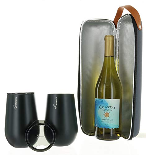 Rabbit Wine To Go Set, Wine Bottle Insulated and Wine Tumblers with Lids, Double-Walled Stainless Steel for Hot or Cold Beverage