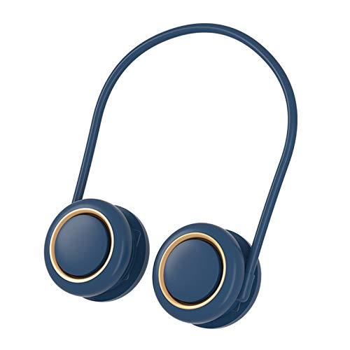 MagiDeal Ventilador de Cuello portátil, Manos Libres Personal Cuello Colgante Deportes Ventilador USB Recargable Ajustable de 3 velocidades de refrigeración - Azul