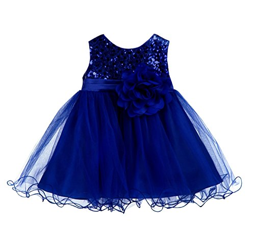 Wedding Glitter Sequin Tulle Flower Girl Dress Toddler Baby Recital Graduation Easter Pageant Birthday B-011NF Navy Blue