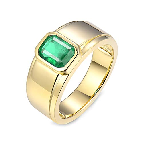 Bishilin Women Ring 750 Engagement Ring, Rectangle Bands Rings 1.59Ct Emerald Stylish 18K Gold Jewelry Marrige Engagement Ring Gifts for Birthday Christmas Party Gold with Jewelry Box Size: 6