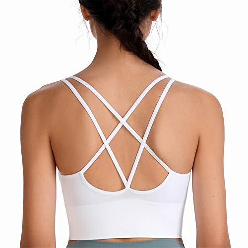 SotRong Brasier deportivo acolchado para mujer, con tirantes y espalda cruzada, soporte de impacto medio, para gimnasio, yoga, correr, brasier sexy para niñas adolescentes