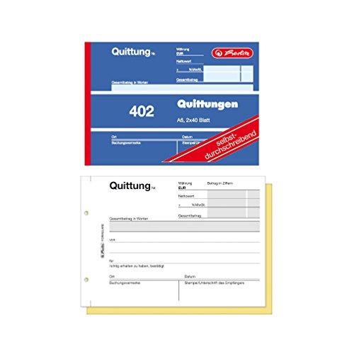Herlitz Quittungsblock 402, selbstdurchschreibend, A6 quer, 2 x 40 Blatt (10er Pack)