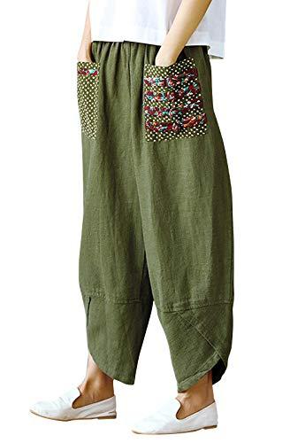 Eledobby Pantalones Baggy para Mujer con Bolsillos Lino Pantalones Anchos Casuales Pantalones de Gran Tamaño para Mujer Ropa de Salón Suelta Ropa de Otoño Verde Militar XL