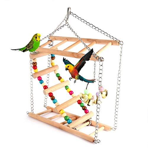 Vogelspeelgoed 1 stks Papegaaien Speelgoed Vogel Swing Oefening Klimmen Hanging Ladder Brug Houten Regenboog Pet Papegaai Hangmat met Klokken, 13 * 45 * 50cm, Wood color